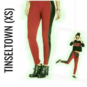 Faux Leather Trim Red Leggings NWT XS